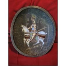 Grand plat décoratif de Marcello FANTONI au chevalier ITALIE 1950-60 cheval