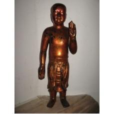 Bouddha enfant en bois laqué cuivré Epoque MING VENDU