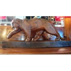 sculpture art déco Jean ROUPPERT  panthère bois en taille directe E.Gallé